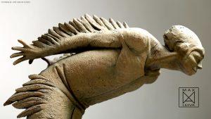 Hombre Pájaro escultura de Max Leiva